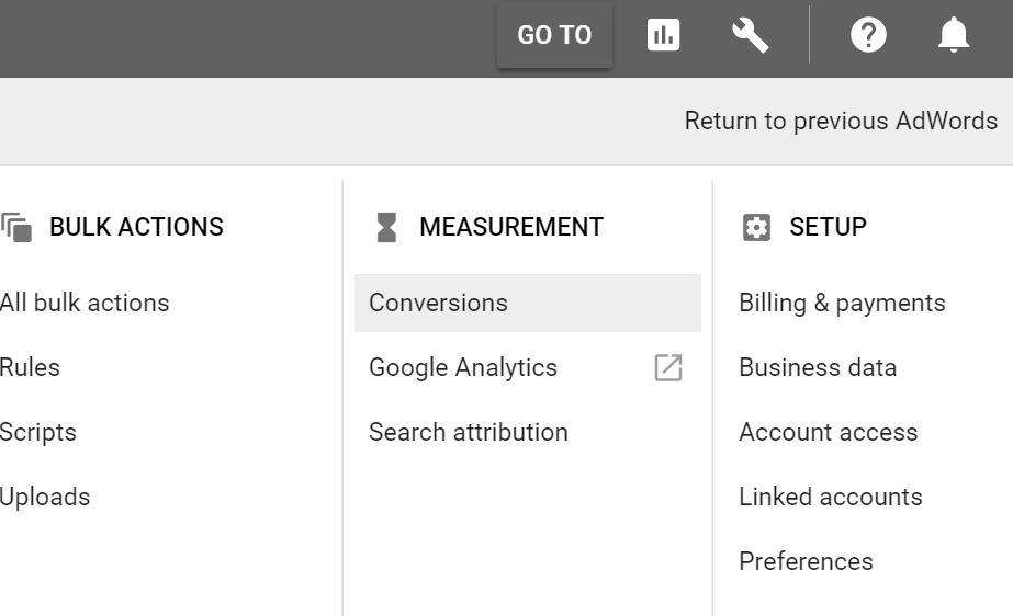 Google AdWords conversion tab