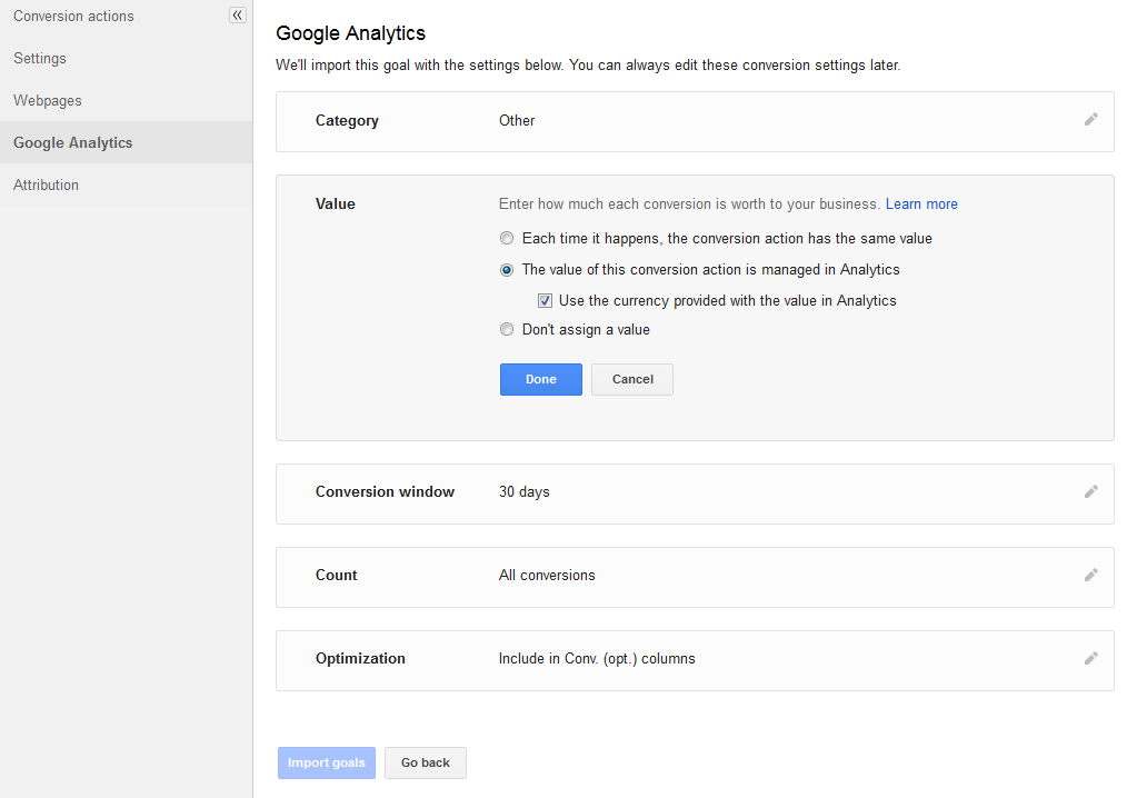 Import Google Analytics goal into AdWords
