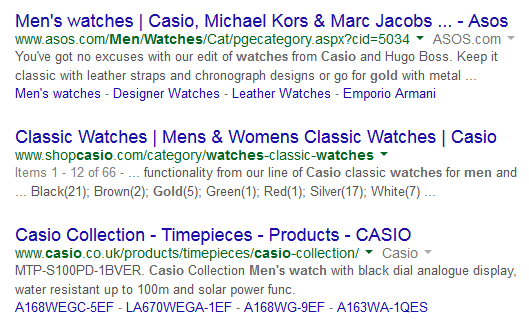 Google search casio watch gold mens
