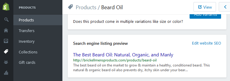 Where to edit Shopify title tags for products