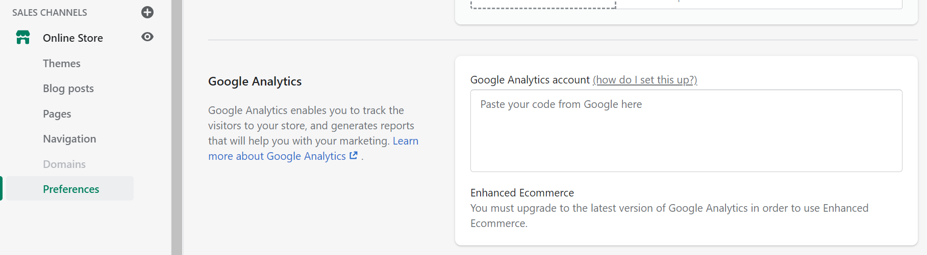 Google Analytics in Shopify