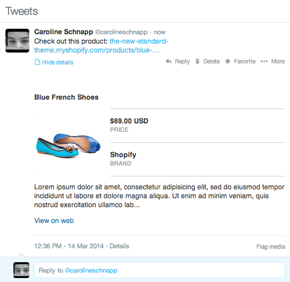 Twitter Card example from Shopify