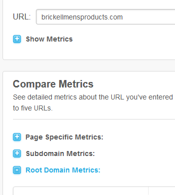 Open Site Explorer comparison metrics