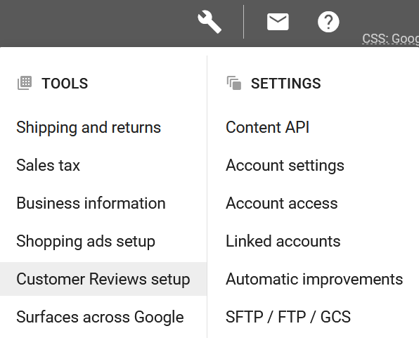 Google Merchant Center tools and settings menu