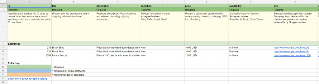 Google Shopping feed spreadsheet example