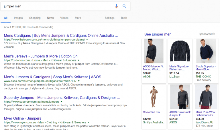 Search query with funny irrelevant shopping ad