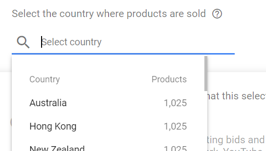 Google Shopping country of sale